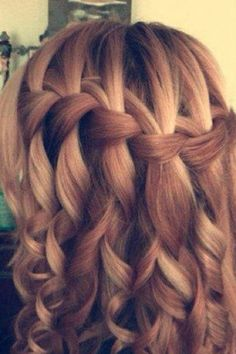 Waterfall braid with curled hair