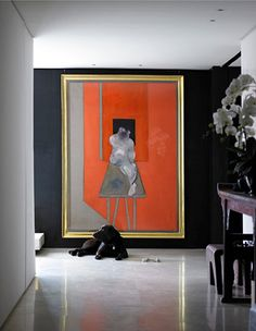 Dark walls with bold art