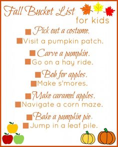FREE printable fall bucket list for kids + 25 activities to do with your kids this autumn!