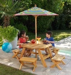 Octagon Table And 4 Stool Set #kidkraft #outdoor #picnic #patiofurniture