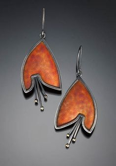 "$290.00 Marcia Meyers: Bellflower I, Earrings of cloisonne enamel on fine and sterling silver, 14k and 18k gold, with sterling silver backs. Approx. 2 1/4"" long."
