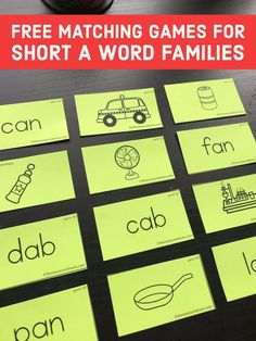 Try this fun way to practice reading short a word families! Kids can match the words and pictures in 16 different games! Use these in learning centers in kindergarten or first grade. #CVCwords #phonics #kindergarten #firstgrade
