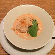 Matcha mousse w/ Brandy sherbet fried Yuba skin & caramel cream @ Kohaku Tokyo - Tokyo's latest 3 michelin star restaurant #tbt (April'15)  #throwback #sfreelife_kohaku #sfreelife_tokyo #sfreelife_3stars #sfreelife_kaiseki #kohaku #3michelinstars #kaiseki #sfreelife_dessert by litsfree