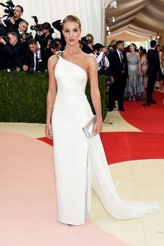 Rosie Huntington-Whiteley in a white Ralph Lauren dress.