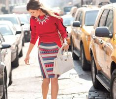 Choose the Perfect Pencil Skirt for Your Body! Trim Legs: Bold diagonal lines on the sides shave off inches.