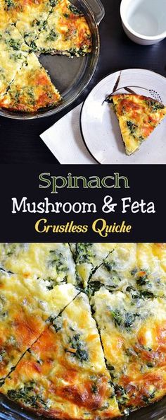 Spinach Mushroom & Feta Crustless Quiche
