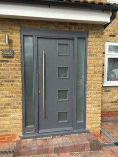 Front door with double glazed panels constructed and fitted on site, finished in Dulux Gallant Grey weather shield exterior paint. House Design, Double Doors, Windows And Doors, Cool House Designs, Grey Front Doors, Double Doors Exterior, Front Door, External Double Doors, Double Glazed Front Doors