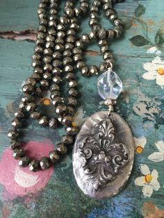 Unique BoHo hand knot neutral gemstone by MarleeLovesRoxy on Etsy