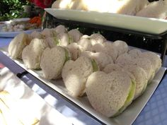 Heart shaped tea sandwiches