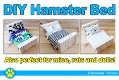 A cute DIY bed for your hamster, mouse, rat or dolls!