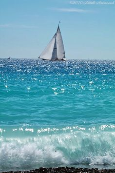Sailing boat on a blue sea Sea And Ocean, Ocean Beach, Ocean Waves, Beautiful Beaches, Beautiful Things, Seaside, Coastal, Scenery, Places To Visit