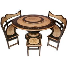 Black Pedestal Dining Table and Benches Set French Country Dining Table, French Country Farmhouse, Country Kitchen, Country Living, Lazy Susan Table, Furniture Sets, Home Furniture, Table And Bench Set, Pedestal Dining Table