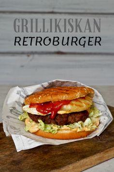 Grillikiskan retroburger on täällä taas — Peggyn pieni punainen keittio A Food, Food And Drink, My Cookbook, Street Food, Burgers, Hamburger, Sandwiches, Cooking Recipes, Snacks