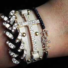 Studded Crystal Cross Wrap Bracelet