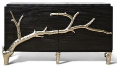 Rye Beach Hollywood Regency Black Silver Branch Media Cabinet - S transitional-buffets-and-sideboards
