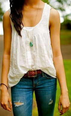 summer outfits - loose white tank or sleeveless, blue jeans.  Pop of color with jewelry.