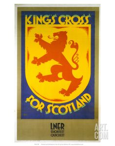 King's Cross for Scotland, LNER, c.1923-1947 Art Print by Austin Cooper at Art.com Reverse the colors and it could pass for Griffyndor.