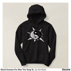 Black Sweater For Men Yin Yang By LeGrand® - Stylish Comfortable And Warm Hooded Sweatshirts By Talented Fashion & Graphic Designers - #sweatshirts #hoodies #mensfashion #apparel #shopping #bargain #sale #outfit #stylish #cool #graphicdesign #trendy #fashion #design #fashiondesign #designer #fashiondesigner #style