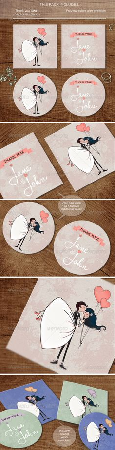 In the Air: Thank you Card by farandoledesign This pack includes Main file: InDesign file fully editable EPS files with different color proposals & the vector illustration Than Wedding Invitation Fonts, Wedding Fonts, Simple Wedding Invitations, Invitation Card Design, Invitation Cards, Wedding Cards, Wedding Reception Signs, Wedding Favours, Thank You Card Size