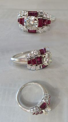 Style Rings, Deco Style, Diamonds Ruby, Deco Rings, Carat Round, Rings Fabulous, Art Deco Ring, Deco Jewelry, Brilliant Diamonds