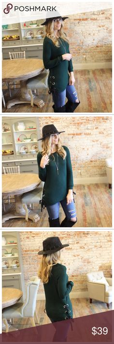 """Hunter Green lace up side soft hacci knit tunic Modeling size small. Super soft and comfy.  Lace up grommet sides.  77% rayon 21% polyester 2% spandex.  Bust pit to pit laying flat: S 19"""" M 20"""" L 21"""" Length S 28"""" M 29"""" L 30"""". Add to bundle to save when purchasing.  IRS7751222.IT9183 Infinity Raine Tops Tunics"""