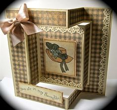 Tri-fold Card and directions  http://mybuttonsnbows.blogspot.com/2011/01/tri-fold-card-directions.html