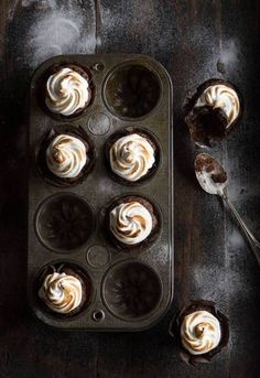 ... chocolate cupcakes with toasted meringue frosting ...