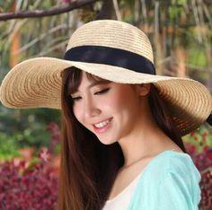 Fashion bow floppy sun hat for girls summer beach wear