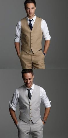 I just showed my boyfriend the existing pins I had & it seems we have fairly different ideas for what he'll wear- apparently he doesn't like the braces/suspenders look. But it's all good as he likes the tan suits! Country Wedding Attire, Beach Wedding Attire, Casual Wedding, Wedding Men, Wedding Suits, Country Weddings, Beach Weddings, Wedding Ideas, Wedding Dresses