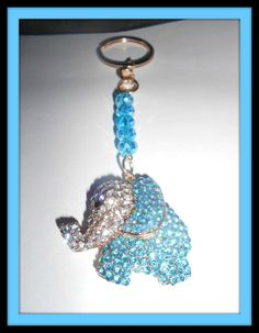 Aqua/Teal Elephant Keychain Swarovski by Purrwoof on Etsy, $8.00
