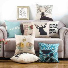 美式麻质抱枕套靠垫靠背办公室沙发腰垫汽车抱枕含芯午睡枕靠枕芯-tmall.com天猫