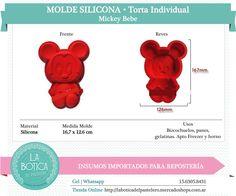 Categoría: Molde Silicona cake pop, tortas, muffins, chocolatero  Producto: molde silicona Torta Individual Modelo: Mickey bebe Presentacion: 1 molde   Importado
