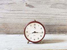 Vintage French JAPY alarm clock Burgundy red windup by FrenchFind, $57.50