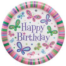 """Happy Birthday"" Butterfly Paper Party Plates, 9"", 18-ct. Packs"