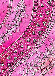 crayon resist?? then felt pen ?? Love the pink watercolour