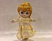 Vintage Bisque Doll, Frozen Charlotte, Betty Boop,Googlie Eyed Doll,  4 1/2 inches, Made In Japan,  Circa 1930's