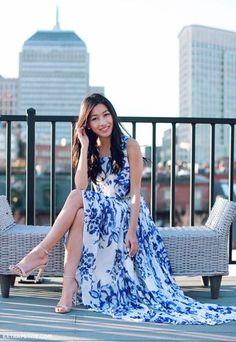 Eliza J. petites maxi dress + neutral strappy sandals review
