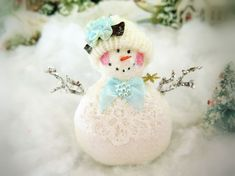 Your place to buy and sell all things handmade Aqua Christmas, Handmade Christmas, Christmas Holidays, Snowman Ornaments, Christmas Ornaments, Snow Men, Pink Cheeks, Christmas Mantels, Arm Knitting
