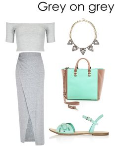 Grey on grey with hints of gold, rustic gold and mint green. Check out the rest of our looks and why they work together on the blog: www.amodachic.com
