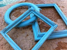 Shabby Chic Frames Little Boy Blue Distressed Vintage Frame Collection Upcycled Painted Wedding Beach Decor. $18.00, via Etsy.