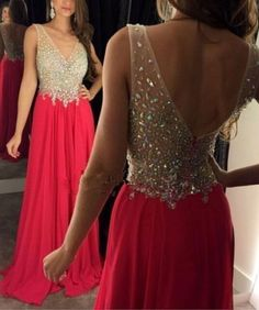 5319e7ba0dec 2018 Sexy V neck Beaded Prom Dresses Pageant Party Chiffon Evening Gowns  Custom Evening Dresses