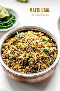 Shweta in the Kitchen: Matki Usal Recipe Vegan Indian Recipes, Vegan Recipes Videos, Veg Recipes, Side Recipes, Healthy Recipes, Chicken Recipes, Recipies, Masala Spice, Vegetarian Breakfast Recipes