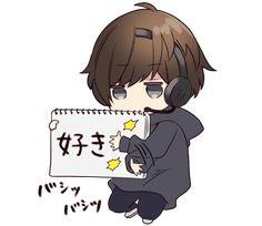 It is a cute sticker of Menhera-kun. Dibujos Anime Chibi, Cute Anime Chibi, Manga Cute, Chica Anime Manga, Kawaii Chibi, Cute Anime Boy, Kawaii Anime Girl, Anime Art Girl, Anime Guys