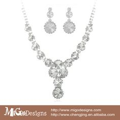 Migodesigns Indian Bridal Jewelry Set 18K White Gold Plated Big Crystal Necklace And Earrings