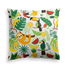 Try our WILD JUNGLE throw pillow. Look totally amazing with our wild animals jungle pillow. Botanical Decor, Room With Plants, Power Nap, Colorful Animals, Tropical Decor, Animal Pillows, Leaf Prints, Decorative Throw Pillows, Modern Contemporary