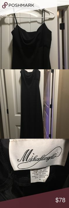Black cowl neck long dress 👗 Black spaghetti straps cowl neck. Long (floor length). No damage.   All of my products are from smoke free home* Dresses Maxi