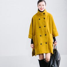Yellow Wool Double-Breasted Winter Coat Women Clothes W188A