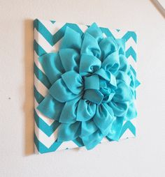 "Wall Flower -Light Turquoise Dahlia on Turquoise and White Chevron 12 x12"" Canvas Wall Art- Baby Nursery Wall Decor-"
