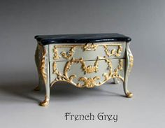 Museum Range - Ornate Grey accent table with dark top