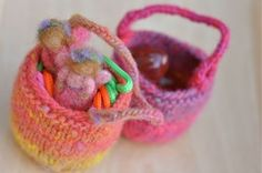 Sweet little knit baskets from Waldorf Mama